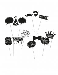 13 Accessoires photobooth Happy Birthday noirs