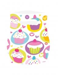 6 Sacs de fête en plastique cupcakes multicolores 13 x 16 cm
