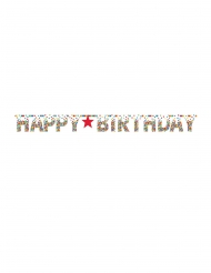 Guirlande Happy Birthday confettis multicolores 3 m 35 x 31 cm