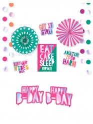 Kit décorations en carton métallisées 12 pièces Birthday Vibes