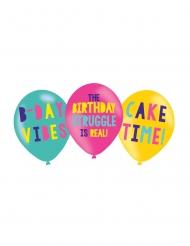 6 Ballons en latex imprimés Birthday Vibes 27 cm