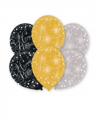 6 Ballons en latex imprimés célébration étincelante 27 cm