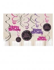 12 Suspensions spirales en carton célébration pétillante rose