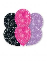 6 Ballons en latex imprimés célébration pétillante 27 cm