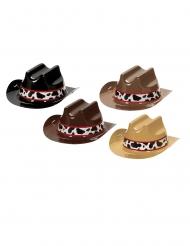 8 Mini chapeaux de cowboy en plastique 13 cm