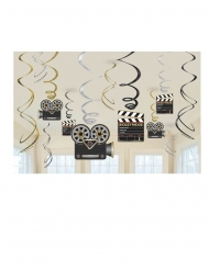 12 Suspensions à spirales en carton métallisé Hollywood 60 cm
