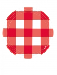 8 Petites assiettes à carreaux rouges et blanches en carton 18 cm