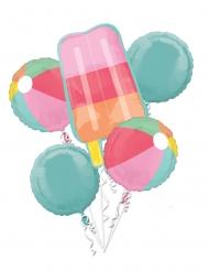 Bouquet 5 ballons en aluminium summer party