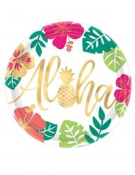8 Assiettes en carton Aloha chic 27 cm