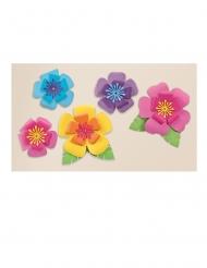 5 Décorations en carton fleurs d'hibiscus multicolores
