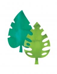 8 Décorations en papier métallisé feuilles de palmier 40 cm