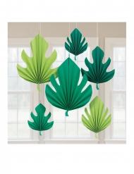 6 Décorations en carton à suspendre feuilles de Palmier