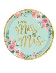 8 Assiettes en carton from Miss to Mrs 27 cm