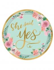 8 Petites assiettes métallisées from Miss to Mrs 18cm