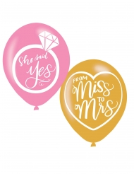 6 Ballons en latex imprimés from Miss to Mrs 27 cm