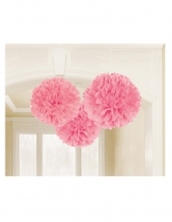 3 Pompons en papier rose 40 cm