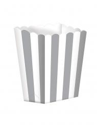 5 Boites à popcorn en carton rayées argent et blanc 9 x 13 cm