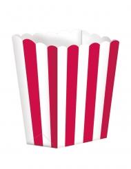 5 Boites à popcorn en carton rayées rouge et blanc 9 x 13 cm