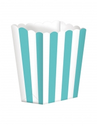 5 Boites à popcorn en carton rayées menthe et blanc 9 x 13 cm