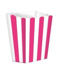 5 Boites à popcorn en carton rayées fuchsia et blanc 9 x 13 cm
