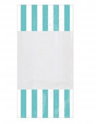 10 Sachets en plastique rayés menthe 25 x 13 cm