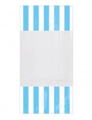 10 Sachets en plastique rayés bleu ciel 25 x 13 cm