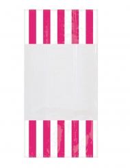 10 Sachets en plastique rayés fuchsia 25 x 13 cm