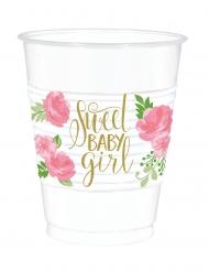 25 Gobelets en plastique sweet baby girl 473 ml
