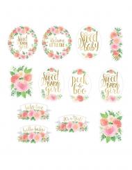 12 Décorations en carton sweet baby girl 18-30 cm
