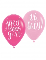 6 Ballons en latex imprimés sweet baby girl 27 cm