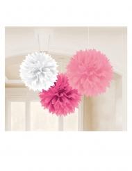 3 Pompons en papier rose blanc et fuchsia 40 cm