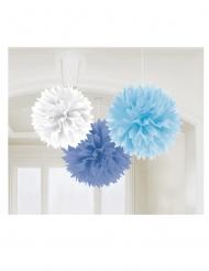 3 Pompons en papier bleus et blanc 40 cm