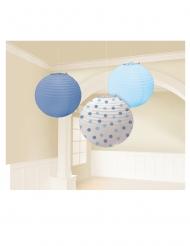 3 Lanternes rondes en papier bleues et blanche 24 cm