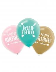 6 Ballons en latex anniversaire Boho 27 cm