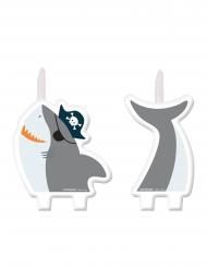 2 Bougies figurines requin à l'abordage!