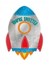 8 Invitations et enveloppes voyage dans l'espace
