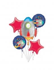 Bouquet 5 ballons aluminium voyage dans l'espace