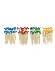 130 Piques en bois bleu rouge vert et jaune 6,6 cm