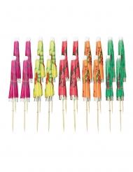 20 Piques ombrelles multicolores 10 cm