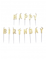 13 Bougies lettres Happy Birthday or 4 cm