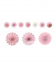 Guirlande minis rosaces en papier rose gold 3 m 65
