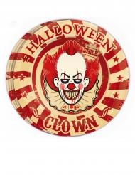 8 Assiettes en carton clown assassin 23 cm