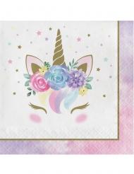 16 Serviettes en papier licorne féerique blanches 33 x 33 cm