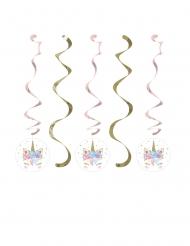 5 Suspensions en spirales licorne féerique 76 et 99 cm