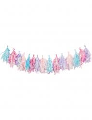 Guirlande de tassels en papier pastel iridescent 3 m