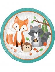 8 Assiettes en carton animaux de la forêt 23 cm