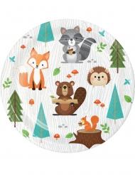 8 Petites assiettes en carton animaux de la forêt 18 cm