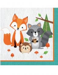 16 Serviettes en papier animaux de la forêt 33 x 33 cm