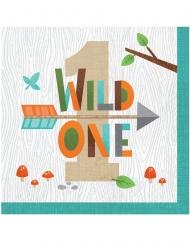 16 Serviettes en papier 1 an animaux de la forêt 33 x 33 cm