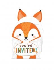 8 Cartons d'invitation avec enveloppes animaux de la forêt 10 x 15 cm